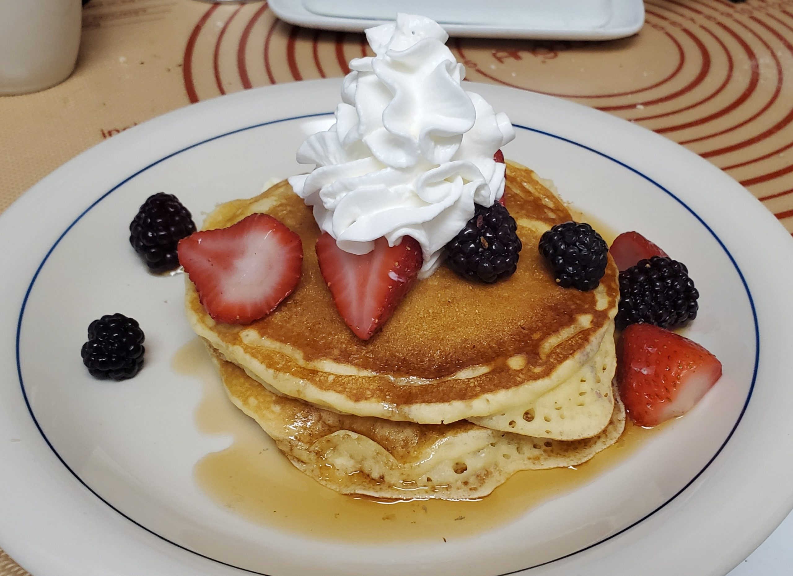 from the camera roll: breakfast; i did not have pancake mix, but i did have buttermilk, flour, fruit, and whipped cream